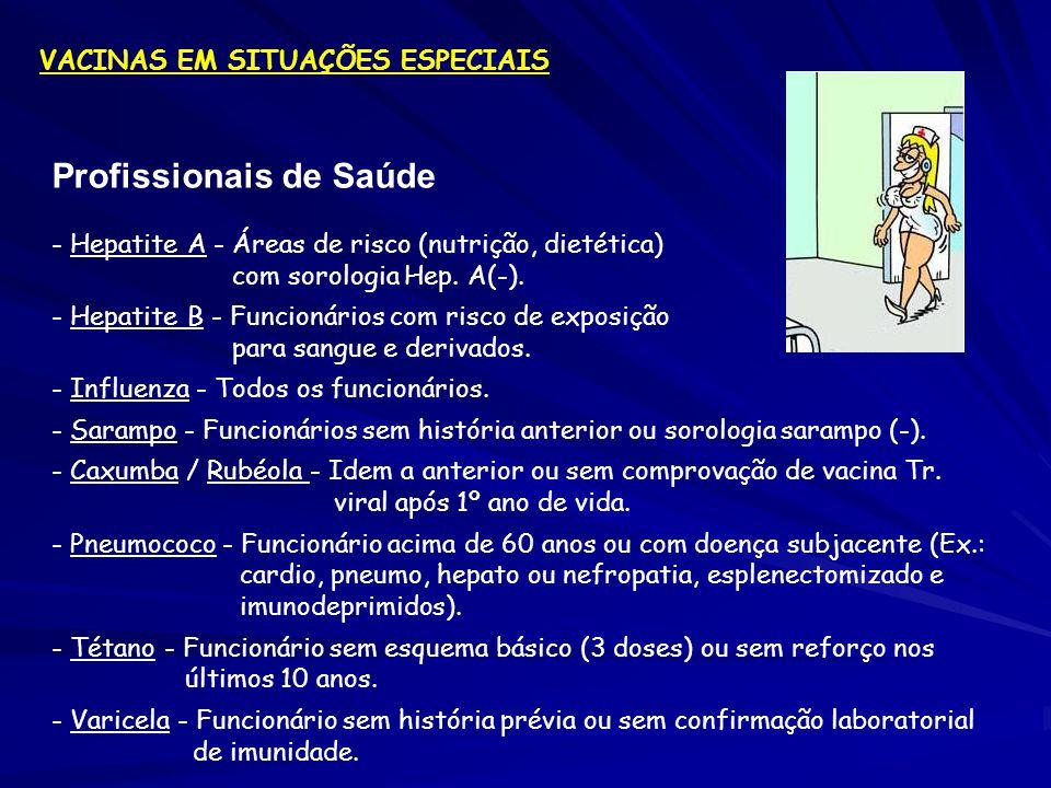 Profissionais de Saúde - Hepatite A - Áreas de risco (nutrição, dietética) com sorologia Hep. A(-). - Hepatite B - Funcionários com risco de exposição