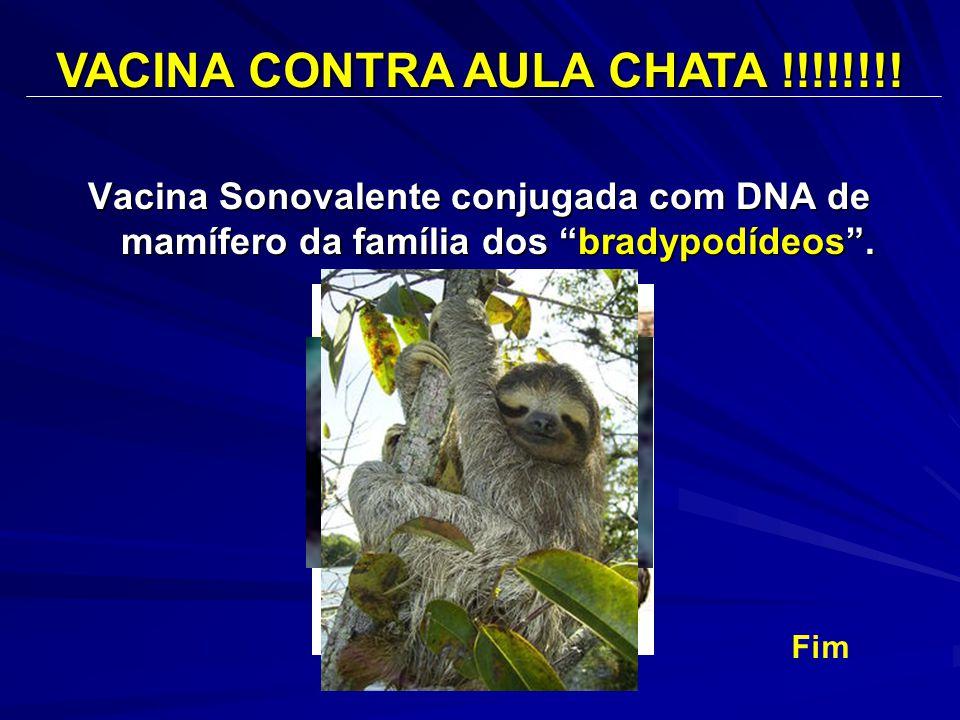 """Vacina Sonovalente conjugada com DNA de mamífero da família dos """"bradypodídeos"""". VACINA CONTRA AULA CHATA !!!!!!!! Fim"""