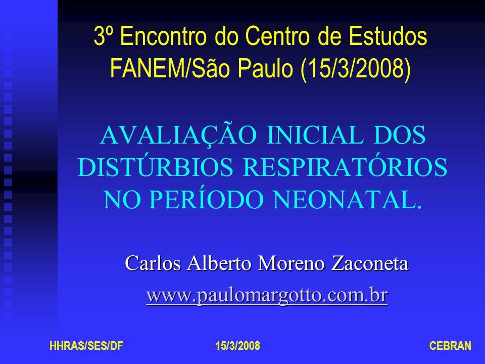 Doença da Membrana Hialina Quadro clínico Gemido expiratório, batimento de asas do nariz, taquipnéia, retração da caixa torácica e cianose.