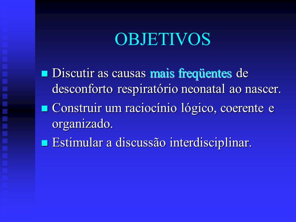 OBJETIVOS Discutir as causas mais freqüentes de desconforto respiratório neonatal ao nascer. Discutir as causas mais freqüentes de desconforto respira
