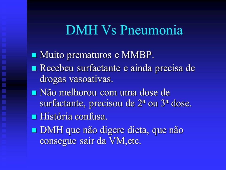 DMH Vs Pneumonia Muito prematuros e MMBP. Muito prematuros e MMBP. Recebeu surfactante e ainda precisa de drogas vasoativas. Recebeu surfactante e ain