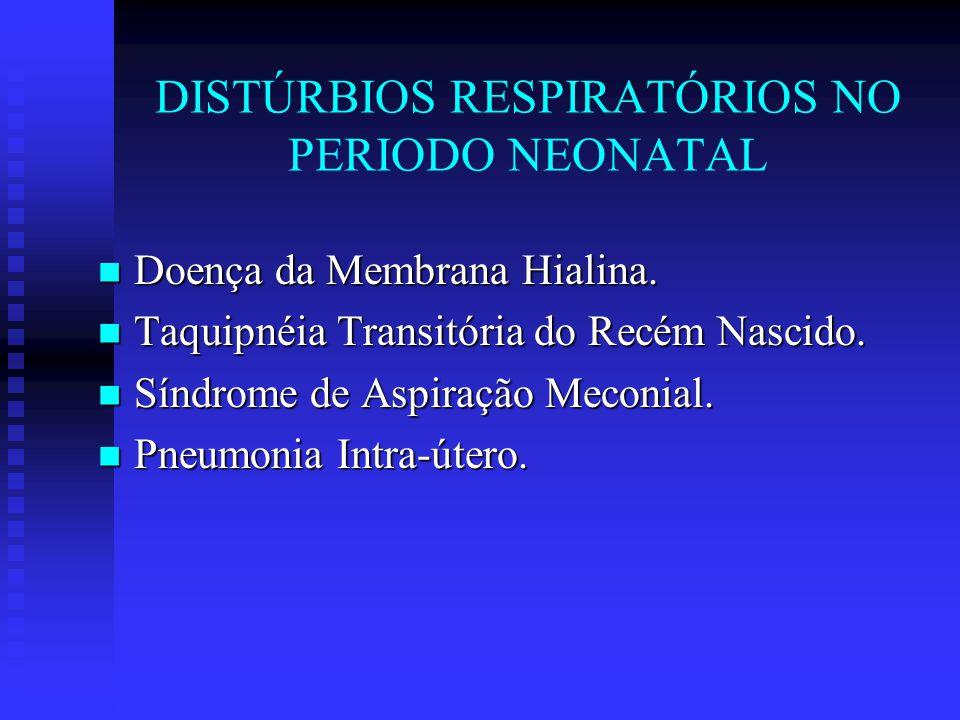 DISTÚRBIOS RESPIRATÓRIOS NO PERIODO NEONATAL Doença da Membrana Hialina. Doença da Membrana Hialina. Taquipnéia Transitória do Recém Nascido. Taquipné