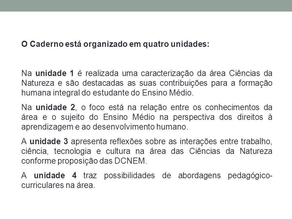 O Caderno está organizado em quatro unidades: Na unidade 1 é realizada uma caracterização da área Ciências da Natureza e são destacadas as suas contri