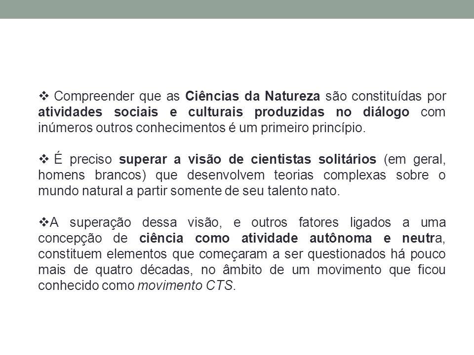  Compreender que as Ciências da Natureza são constituídas por atividades sociais e culturais produzidas no diálogo com inúmeros outros conhecimentos