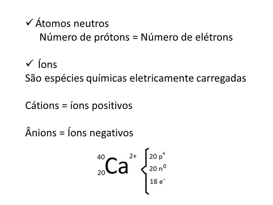 Átomos neutros Número de prótons = Número de elétrons Íons São espécies químicas eletricamente carregadas Cátions = íons positivos Ânions = Íons negat