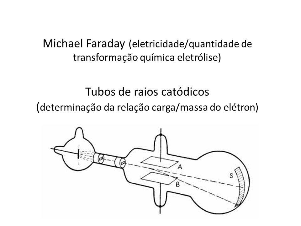 Michael Faraday (eletricidade/quantidade de transformação química eletrólise) Tubos de raios catódicos ( determinação da relação carga/massa do elétro