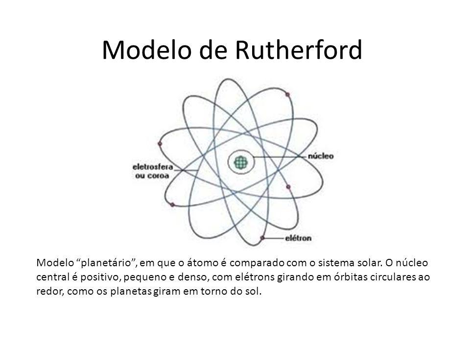 """Modelo de Rutherford Modelo """"planetário"""", em que o átomo é comparado com o sistema solar. O núcleo central é positivo, pequeno e denso, com elétrons g"""
