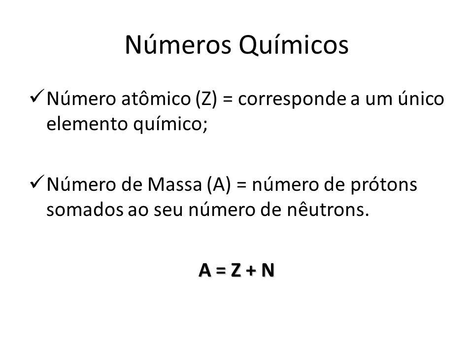 Números Químicos Número atômico (Z) = corresponde a um único elemento químico; Número de Massa (A) = número de prótons somados ao seu número de nêutro