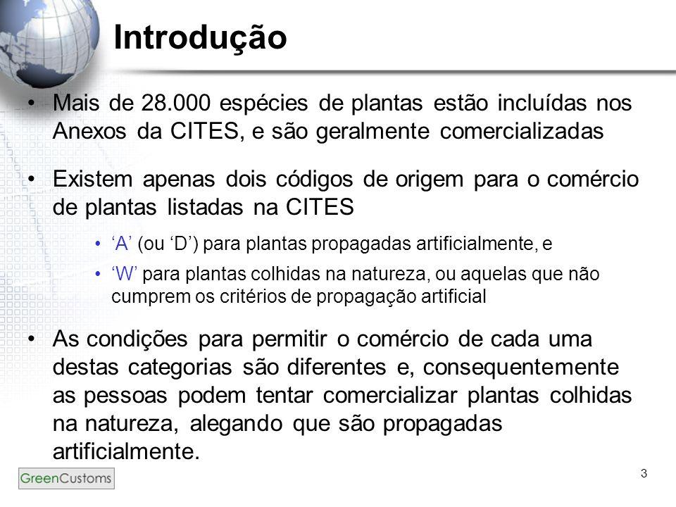3 Introdução Mais de 28.000 espécies de plantas estão incluídas nos Anexos da CITES, e são geralmente comercializadas Existem apenas dois códigos de o