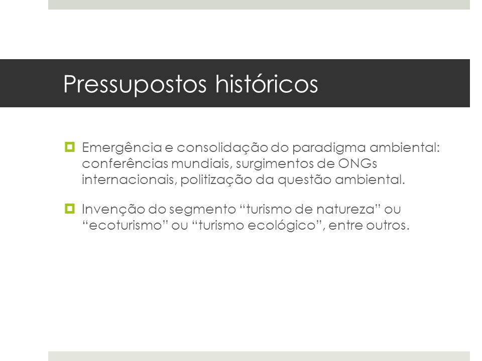 Pressupostos históricos  Emergência e consolidação do paradigma ambiental: conferências mundiais, surgimentos de ONGs internacionais, politização da questão ambiental.