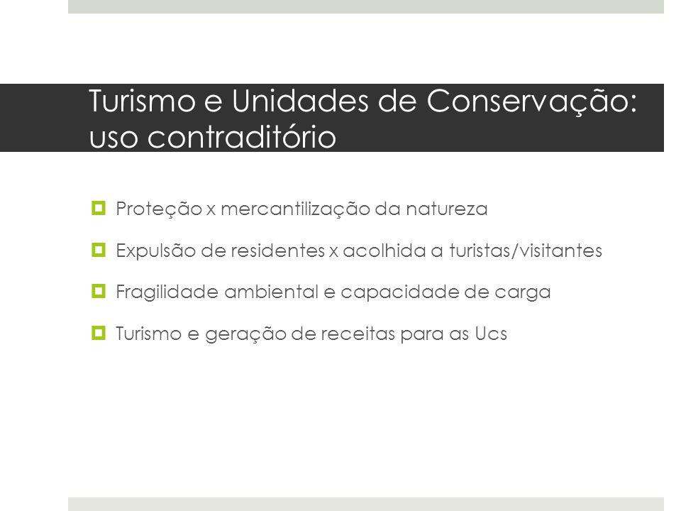 Turismo e Unidades de Conservação: uso contraditório  Proteção x mercantilização da natureza  Expulsão de residentes x acolhida a turistas/visitante