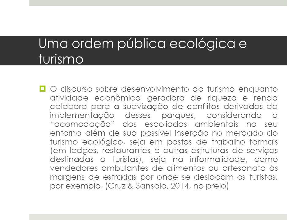 Uma ordem pública ecológica e turismo  O discurso sobre desenvolvimento do turismo enquanto atividade econômica geradora de riqueza e renda colabora