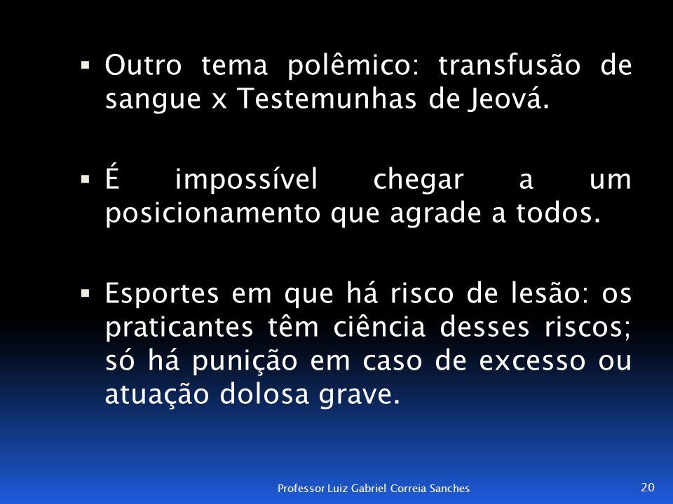  Outro tema polêmico: transfusão de sangue x Testemunhas de Jeová.  É impossível chegar a um posicionamento que agrade a todos.  Esportes em que há