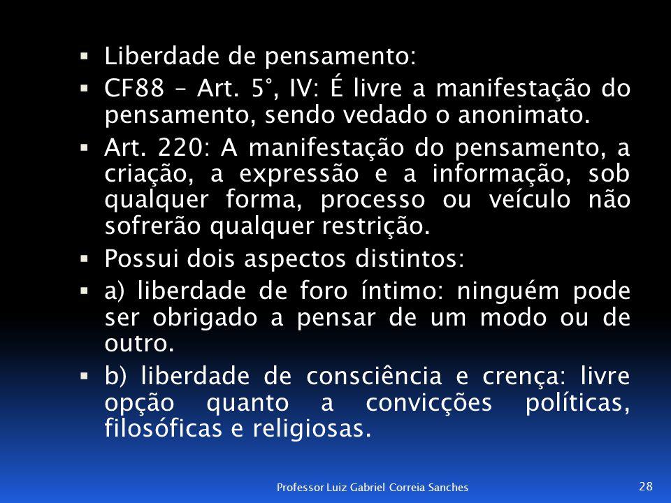  Liberdade de pensamento:  CF88 – Art. 5°, IV: É livre a manifestação do pensamento, sendo vedado o anonimato.  Art. 220: A manifestação do pensame