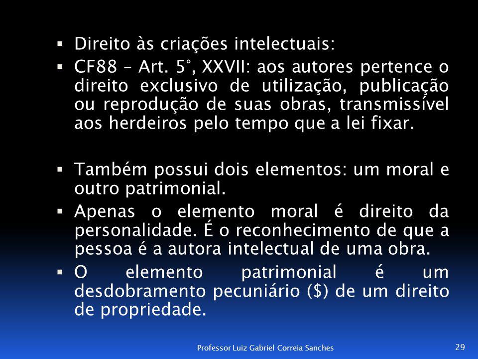  Direito às criações intelectuais:  CF88 – Art. 5°, XXVII: aos autores pertence o direito exclusivo de utilização, publicação ou reprodução de suas