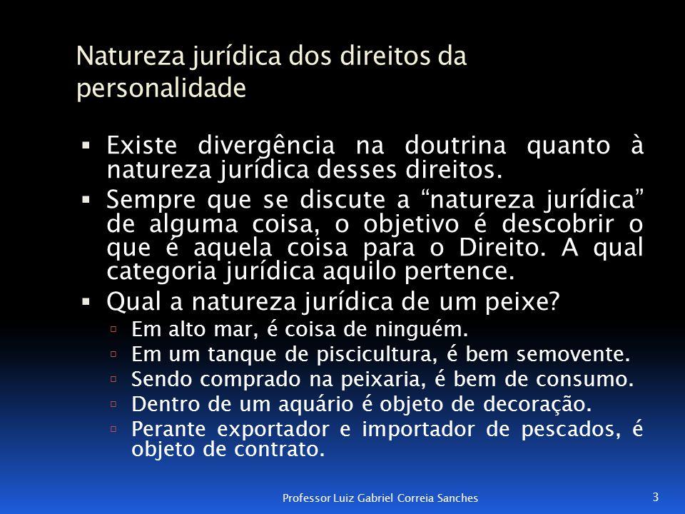 Natureza jurídica dos direitos da personalidade  Existe divergência na doutrina quanto à natureza jurídica desses direitos.  Sempre que se discute a
