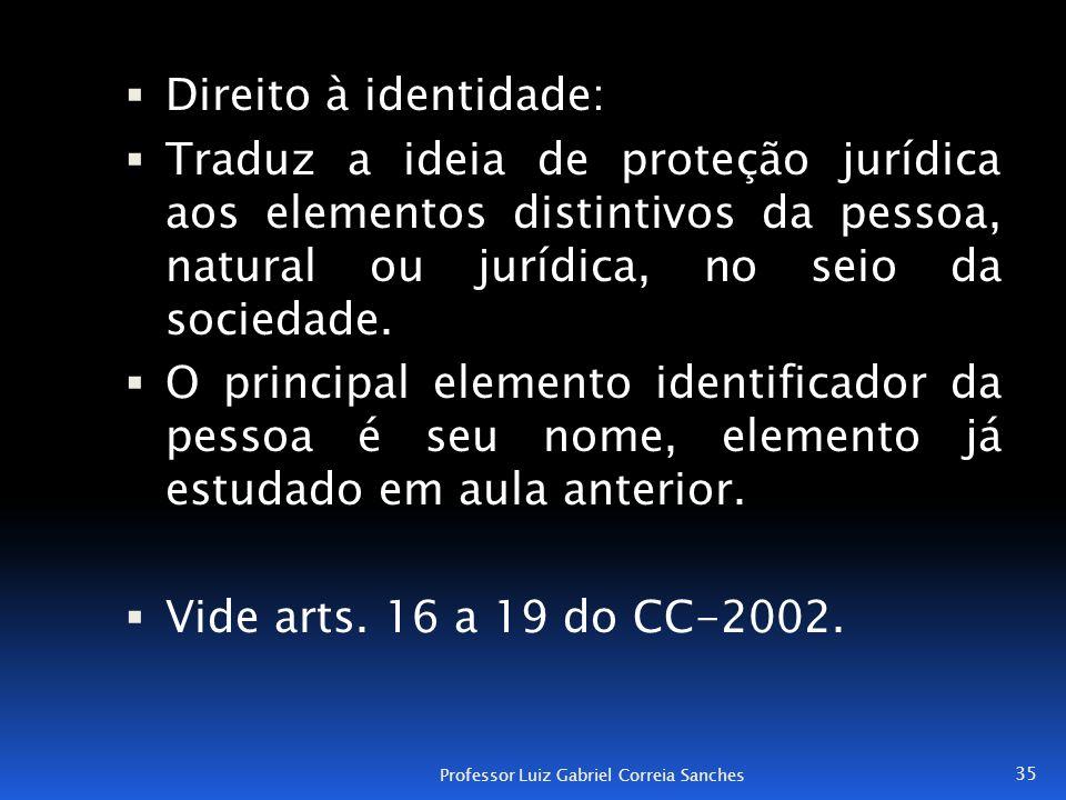  Direito à identidade:  Traduz a ideia de proteção jurídica aos elementos distintivos da pessoa, natural ou jurídica, no seio da sociedade.  O prin