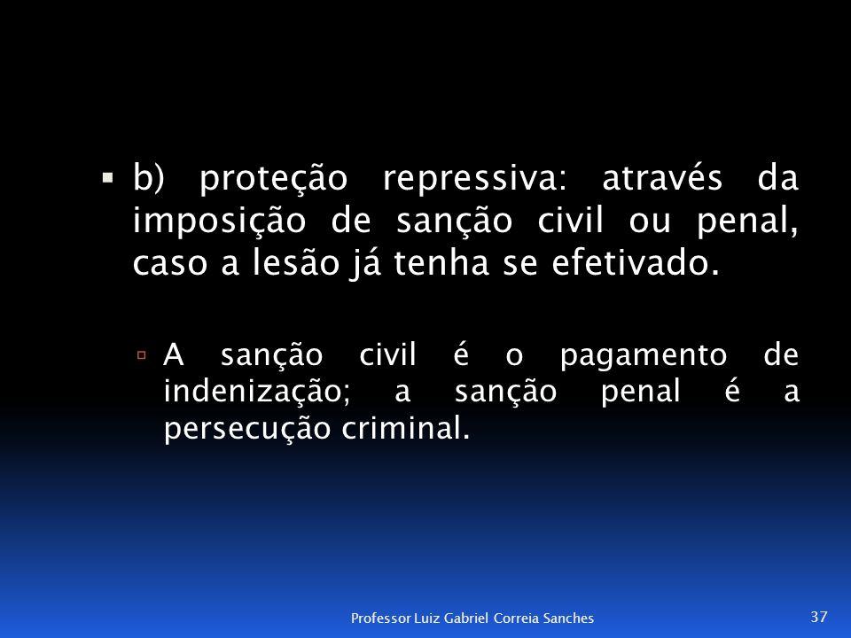  b) proteção repressiva: através da imposição de sanção civil ou penal, caso a lesão já tenha se efetivado.  A sanção civil é o pagamento de indeniz