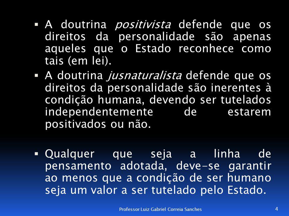  A doutrina positivista defende que os direitos da personalidade são apenas aqueles que o Estado reconhece como tais (em lei).  A doutrina jusnatura