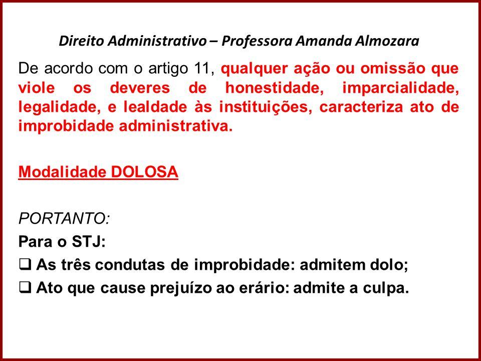 Direito Administrativo – Professora Amanda Almozara De acordo com o artigo 11, qualquer ação ou omissão que viole os deveres de honestidade, imparcial