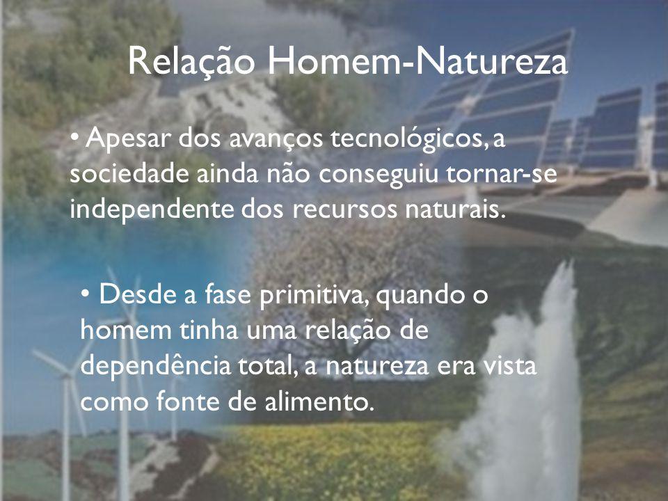 Relação Homem-Natureza Apesar dos avanços tecnológicos, a sociedade ainda não conseguiu tornar-se independente dos recursos naturais.