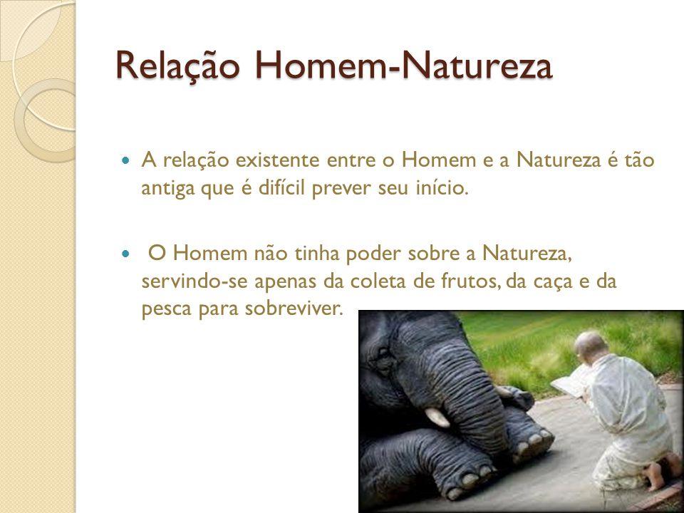 Relação Homem-Natureza A relação existente entre o Homem e a Natureza é tão antiga que é difícil prever seu início.