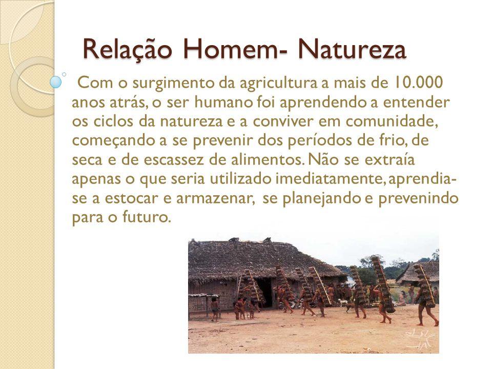 Relação Homem- Natureza Com o surgimento da agricultura a mais de 10.000 anos atrás, o ser humano foi aprendendo a entender os ciclos da natureza e a conviver em comunidade, começando a se prevenir dos períodos de frio, de seca e de escassez de alimentos.