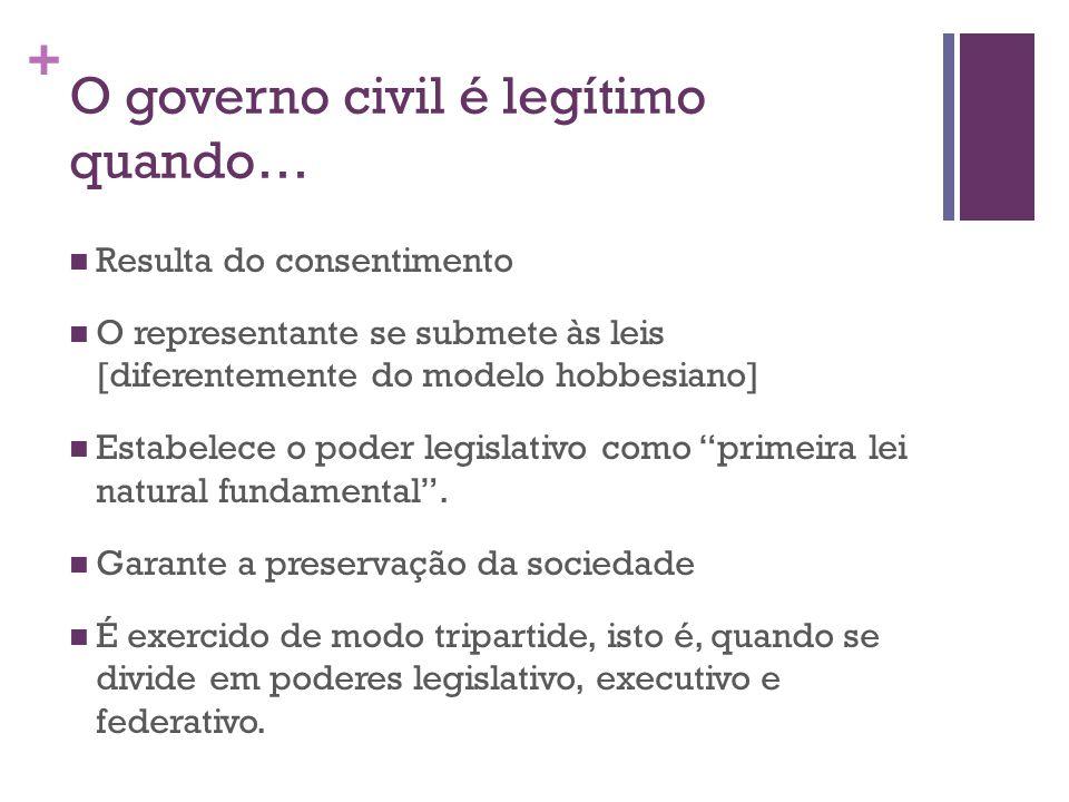 + O governo civil é legítimo quando… Resulta do consentimento O representante se submete às leis [diferentemente do modelo hobbesiano] Estabelece o poder legislativo como primeira lei natural fundamental .