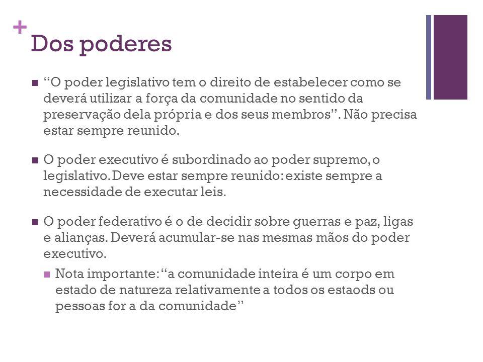 + Dos poderes O poder legislativo tem o direito de estabelecer como se deverá utilizar a força da comunidade no sentido da preservação dela própria e dos seus membros .