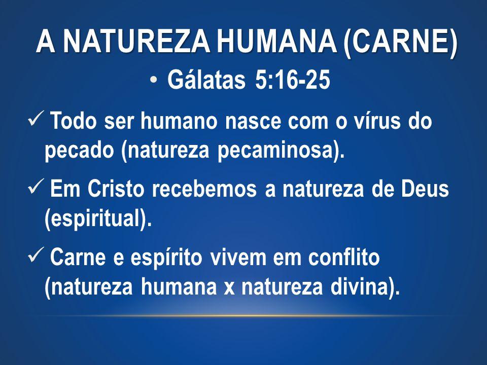 A NATUREZA HUMANA (CARNE) Gálatas 5:16-25 Todo ser humano nasce com o vírus do pecado (natureza pecaminosa). Em Cristo recebemos a natureza de Deus (e
