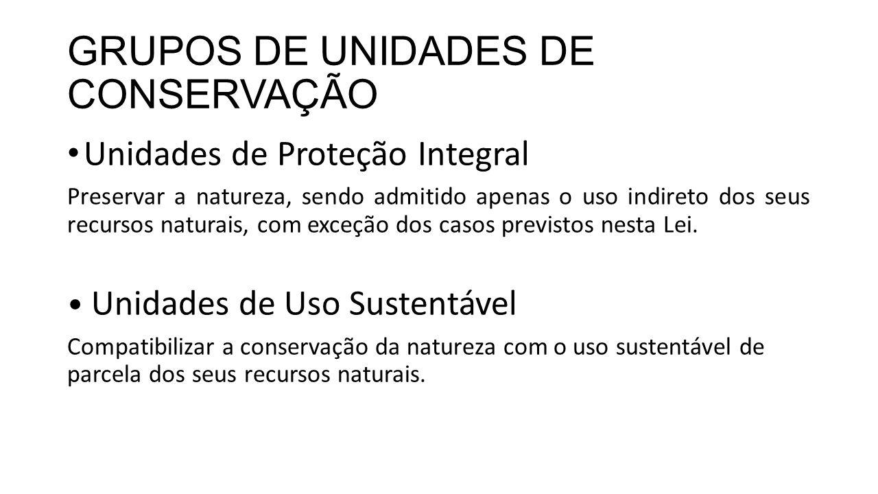 GRUPOS DE UNIDADES DE CONSERVAÇÃO Unidades de Proteção Integral Preservar a natureza, sendo admitido apenas o uso indireto dos seus recursos naturais,