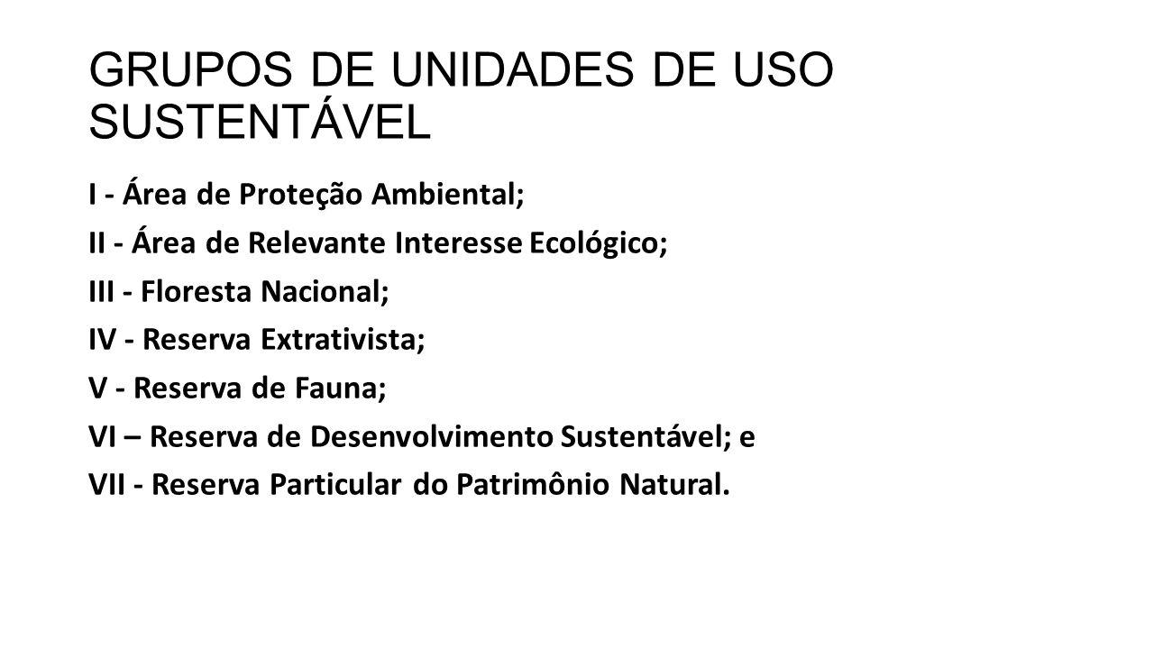 GRUPOS DE UNIDADES DE USO SUSTENTÁVEL I - Área de Proteção Ambiental; II - Área de Relevante Interesse Ecológico; III - Floresta Nacional; IV - Reserv