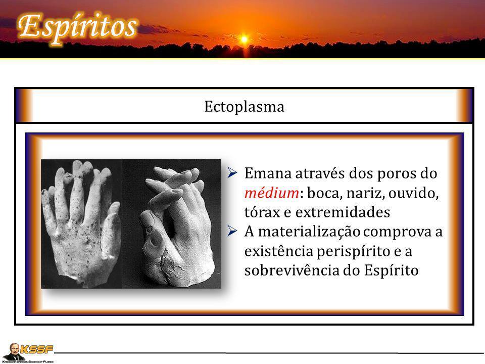 Ectoplasma Matéria-prima utilizada para os fenômenos de materialização Visibilidade variável. Pode apresentar-se branca, preta ou cinzenta Sensível a