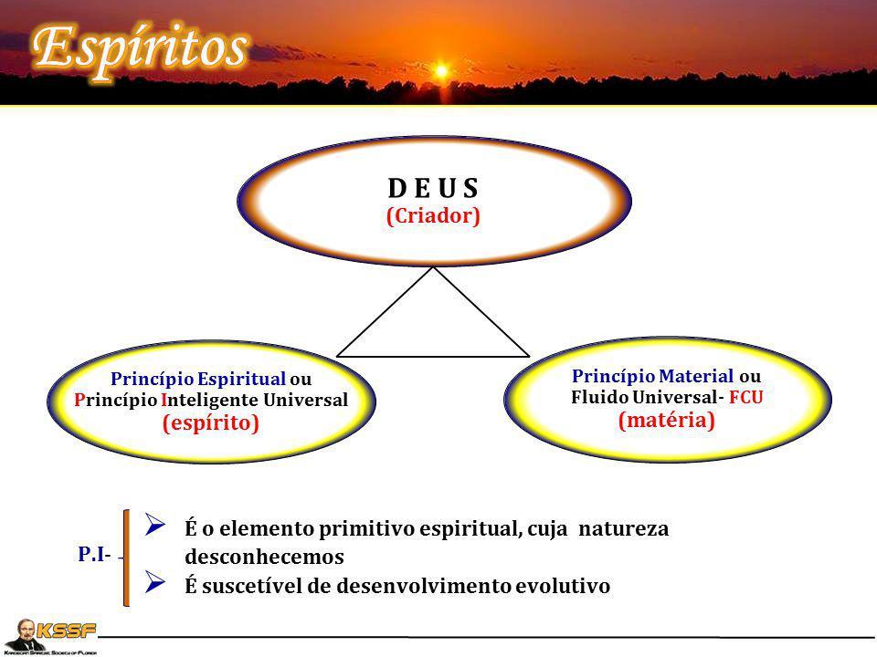 D E U S (Criador) Princípio Espiritual ou Princípio Inteligente Universal (espírito) Princípio Material ou Fluido Universal- FCU (matéria) P.I-  É o