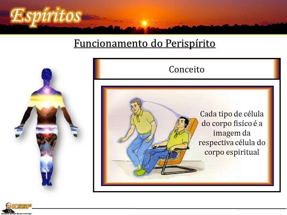 """Funcionamento do Perispírito Conceito L.E- 93- """"O Espírito propriamente dito vive a descoberto ou é envolvido por alguma substância?"""" """"- O Espírito é"""