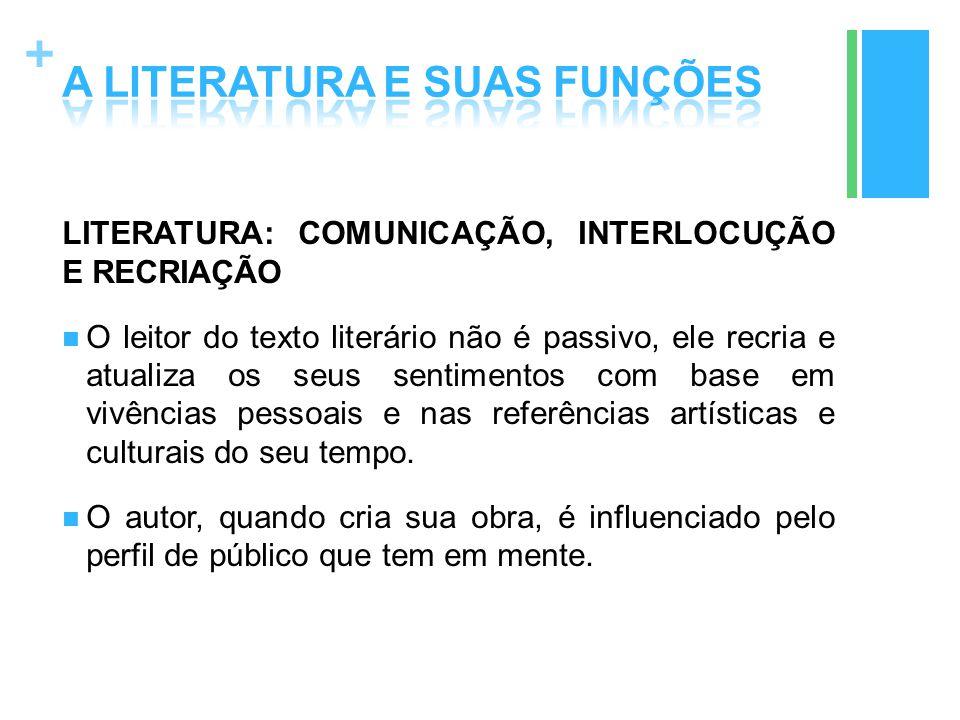 + LITERATURA: COMUNICAÇÃO, INTERLOCUÇÃO E RECRIAÇÃO O leitor do texto literário não é passivo, ele recria e atualiza os seus sentimentos com base em v