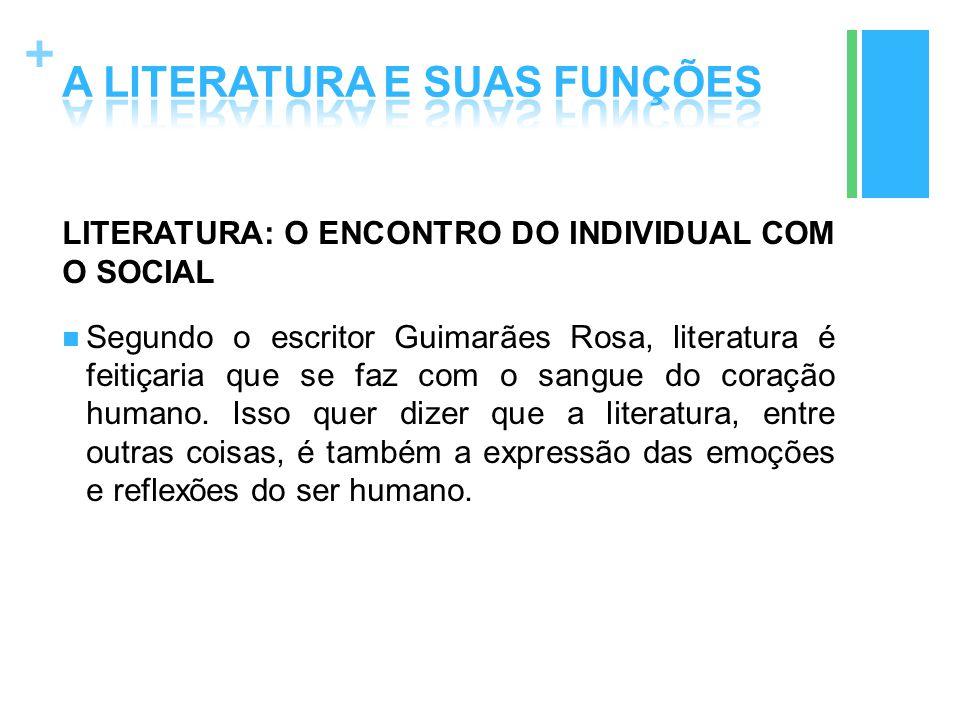 + LITERATURA: O ENCONTRO DO INDIVIDUAL COM O SOCIAL Segundo o escritor Guimarães Rosa, literatura é feitiçaria que se faz com o sangue do coração huma