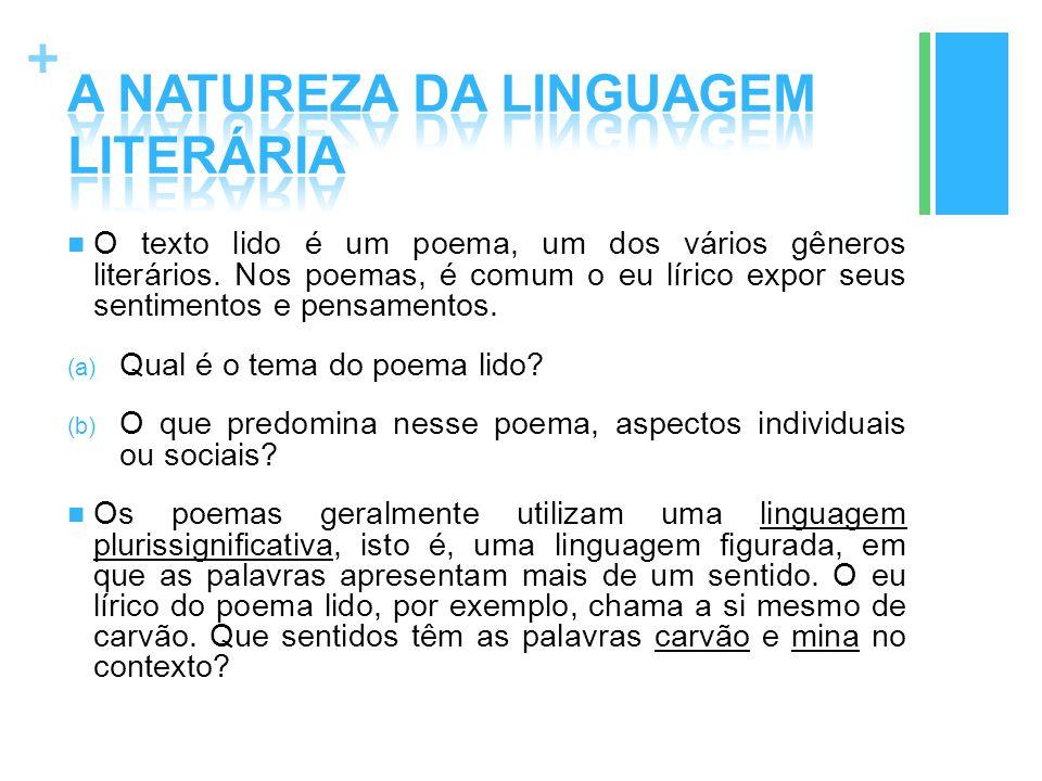 + O texto lido é um poema, um dos vários gêneros literários. Nos poemas, é comum o eu lírico expor seus sentimentos e pensamentos. (a) Qual é o tema d