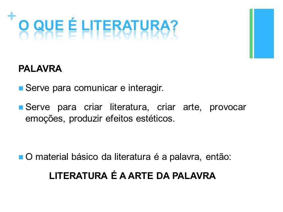 + PALAVRA Serve para comunicar e interagir. Serve para criar literatura, criar arte, provocar emoções, produzir efeitos estéticos. O material básico d