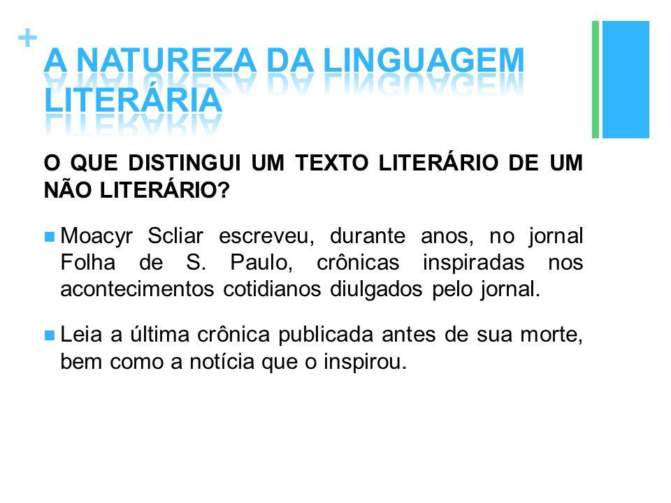 + O QUE DISTINGUI UM TEXTO LITERÁRIO DE UM NÃO LITERÁRIO? Moacyr Scliar escreveu, durante anos, no jornal Folha de S. Paulo, crônicas inspiradas nos a
