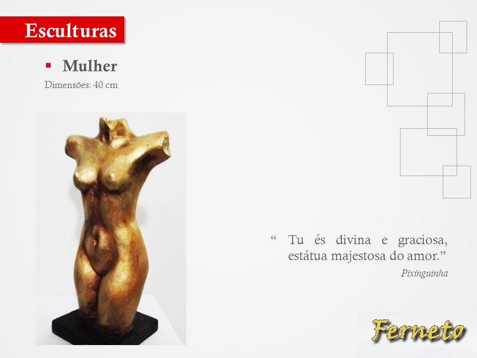  Mulher Dimensões: 40 cm Esculturas Tu és divina e graciosa, estátua majestosa do amor. Pixinguinha