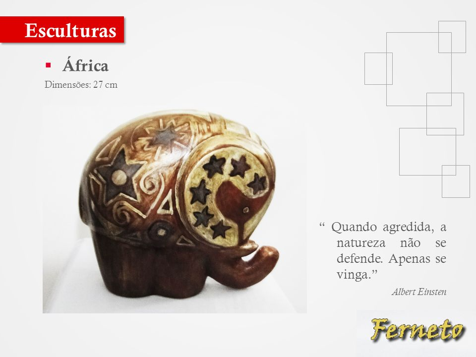  África Dimensões: 27 cm Esculturas Quando agredida, a natureza não se defende.