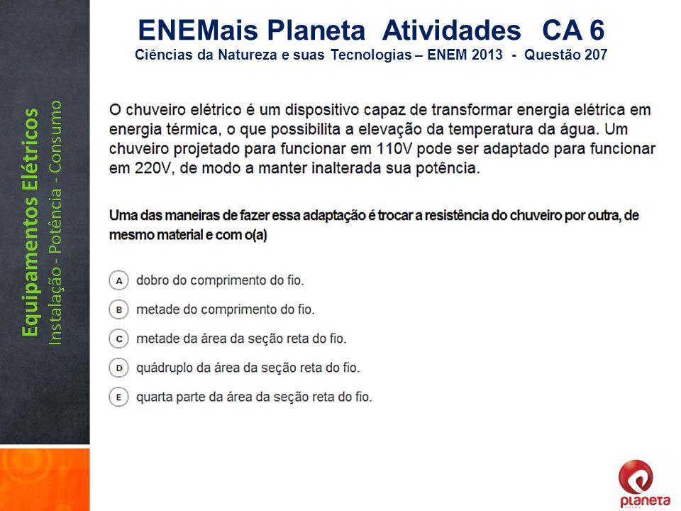 Equipamentos Elétricos Instalação - Potência - Consumo ENEMais Planeta Atividades CA 6 Ciências da Natureza e suas Tecnologias – ENEM 2013 - Questão 2