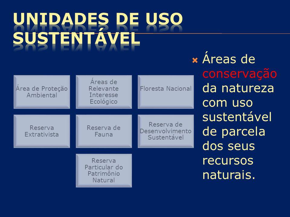 Área de Proteção Ambiental Áreas de Relevante Interesse Ecológico Floresta Nacional Reserva Extrativista Reserva de Fauna Reserva de Desenvolvimento S