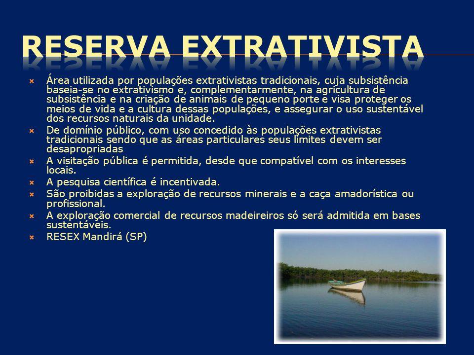  Área utilizada por populações extrativistas tradicionais, cuja subsistência baseia-se no extrativismo e, complementarmente, na agricultura de subsis