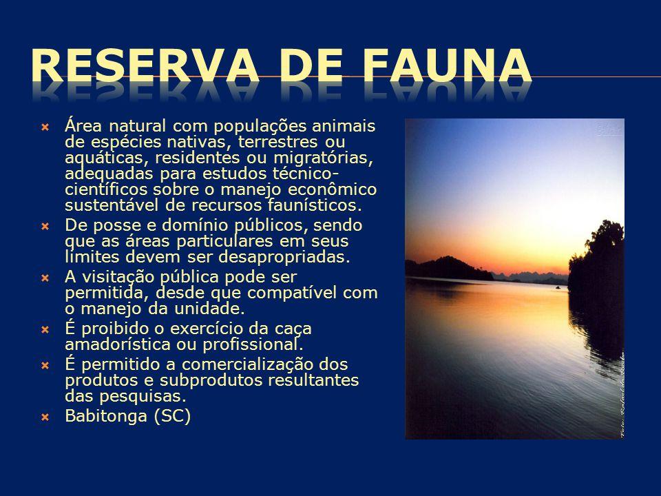  Área natural com populações animais de espécies nativas, terrestres ou aquáticas, residentes ou migratórias, adequadas para estudos técnico- científ