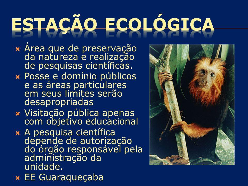  Área que de preservação da natureza e realização de pesquisas científicas.  Posse e domínio públicos e as áreas particulares em seus limites serão