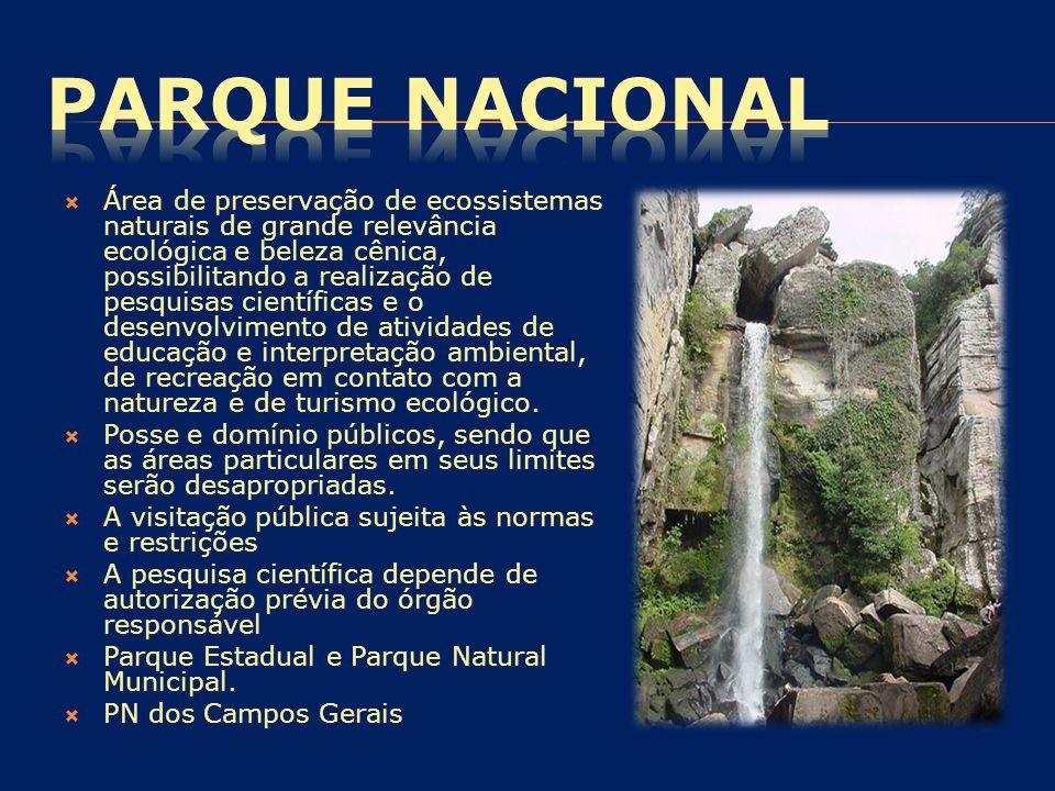  Área de preservação de ecossistemas naturais de grande relevância ecológica e beleza cênica, possibilitando a realização de pesquisas científicas e