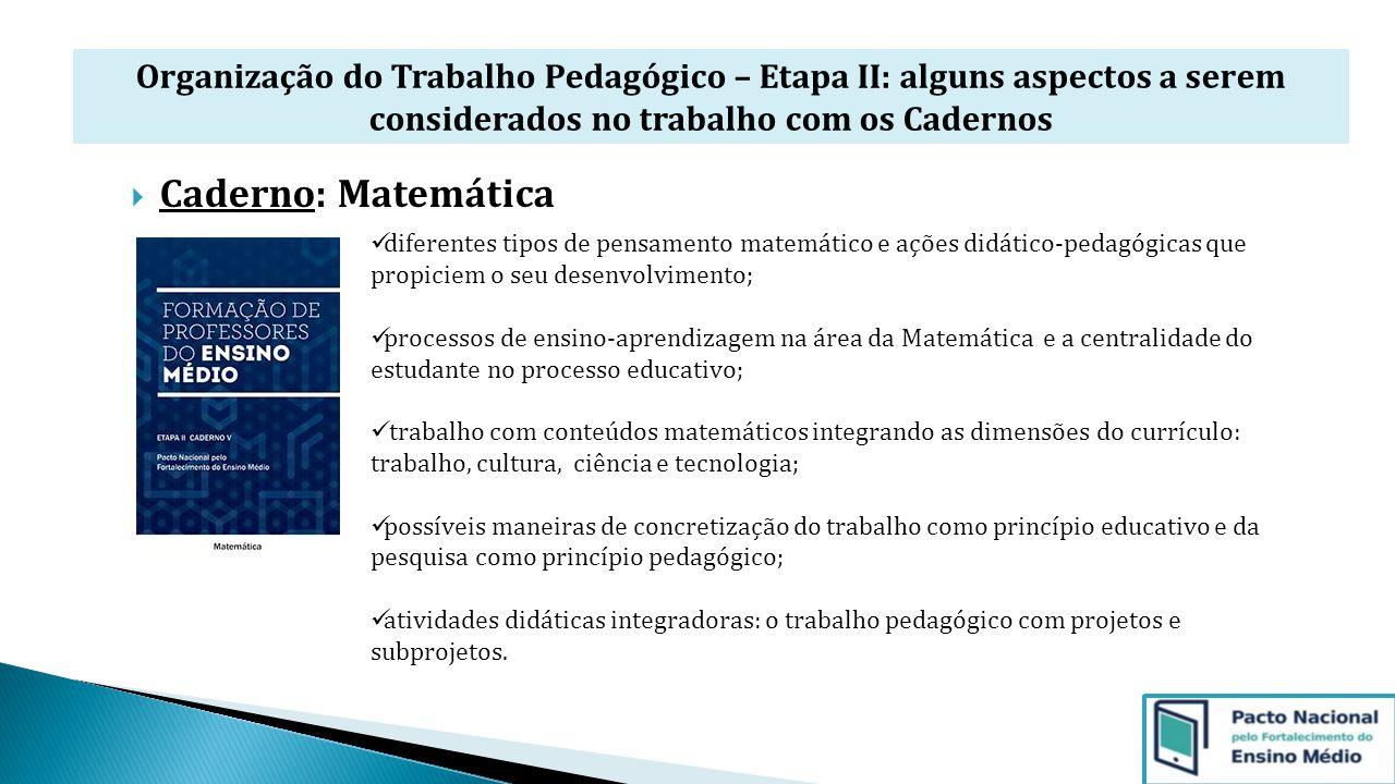 Organização do Trabalho Pedagógico – Etapa II: alguns aspectos a serem considerados no trabalho com os Cadernos  Caderno: Matemática diferentes tipos