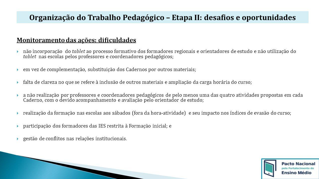 Organização do Trabalho Pedagógico – Etapa II: desafios e oportunidades Monitoramento das ações: dificuldades  não incorporação do tablet ao processo
